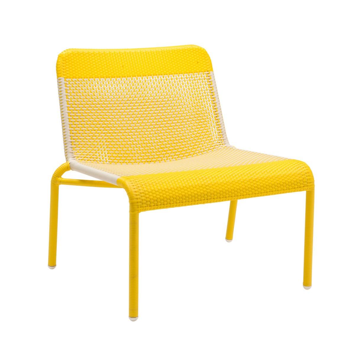 Chauffeuse de jardin tressée en résine jaune citron