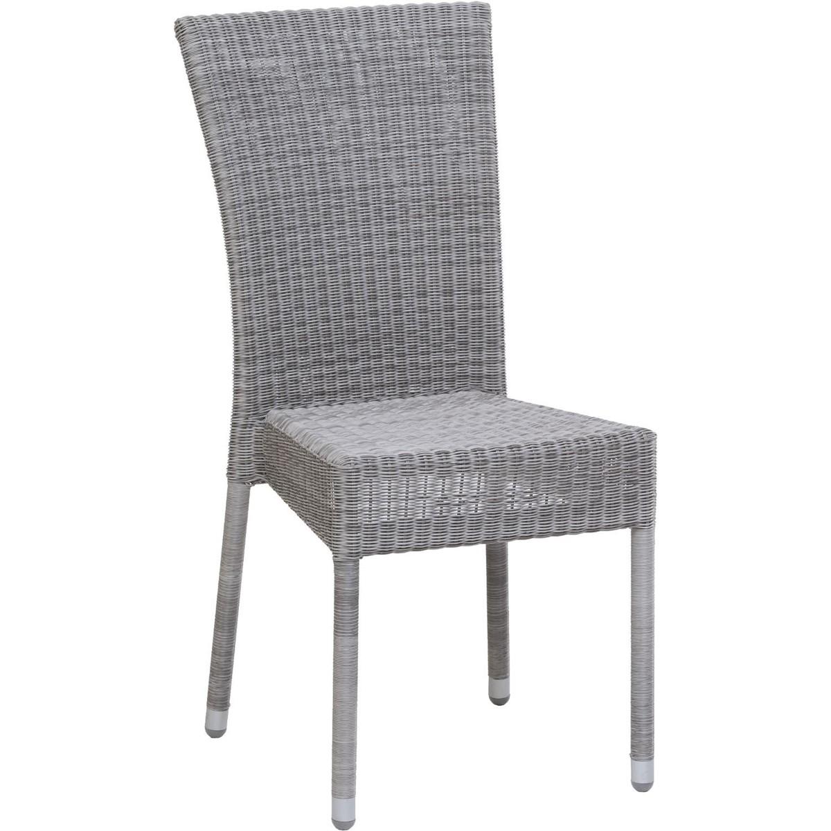 Chaise de jardin tressée en résine gris