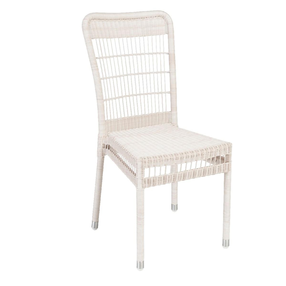Chaise de jardin en résine blanc cassé