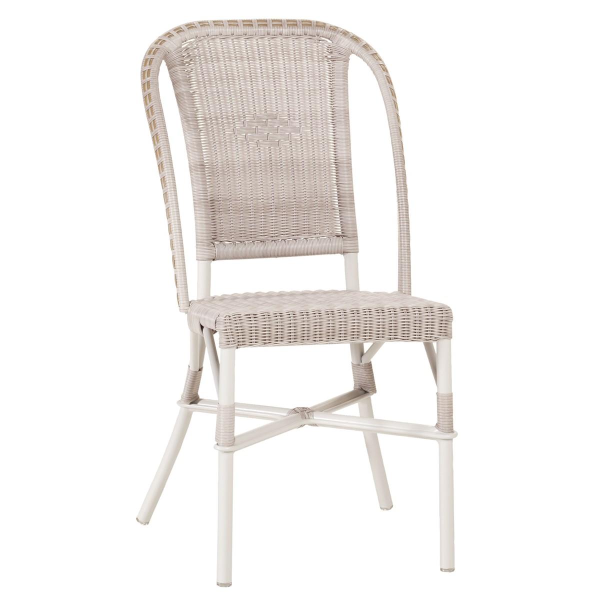 Chaise de jardin tressée en résine marron