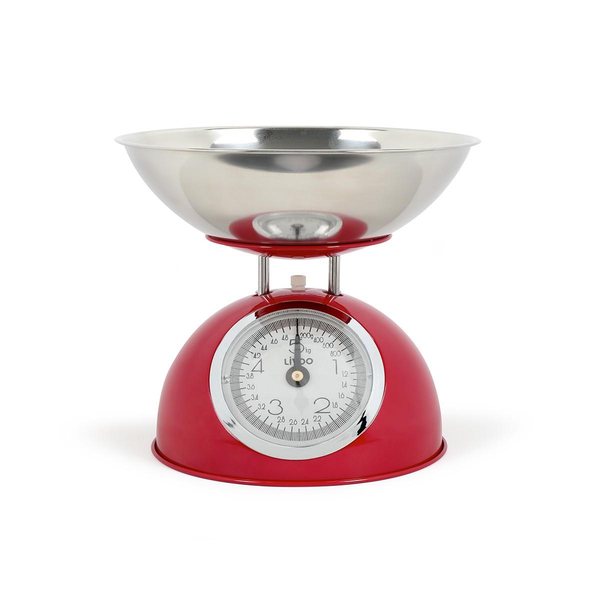 Balance de cuisine en acier inoxydable rouge