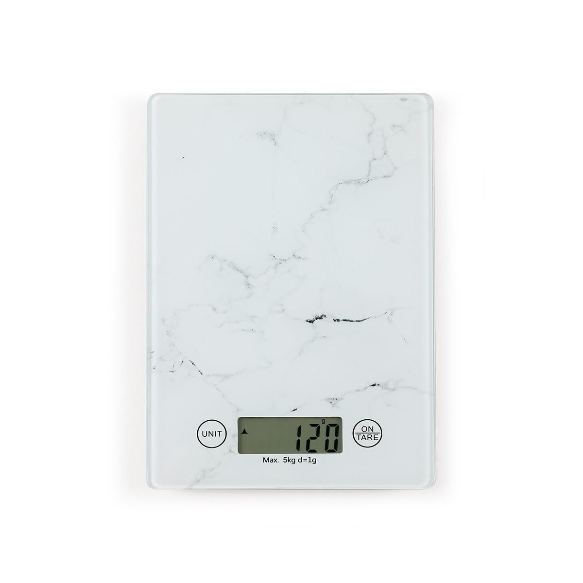Balance de cuisine électronique en verre blanc cassé