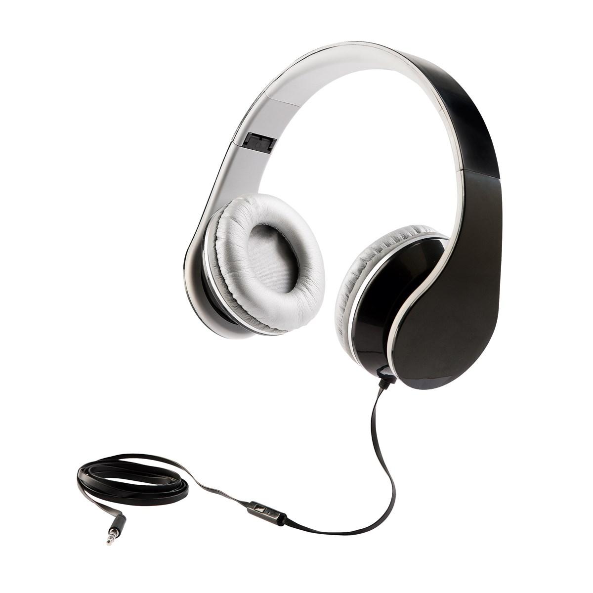 Casque stereo Hi-Fi en plastique noir