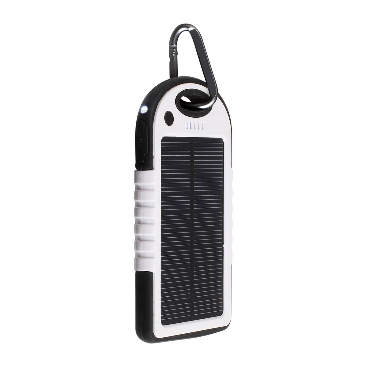 Batterie de secours solaire 5000 mAh en plastique blanc