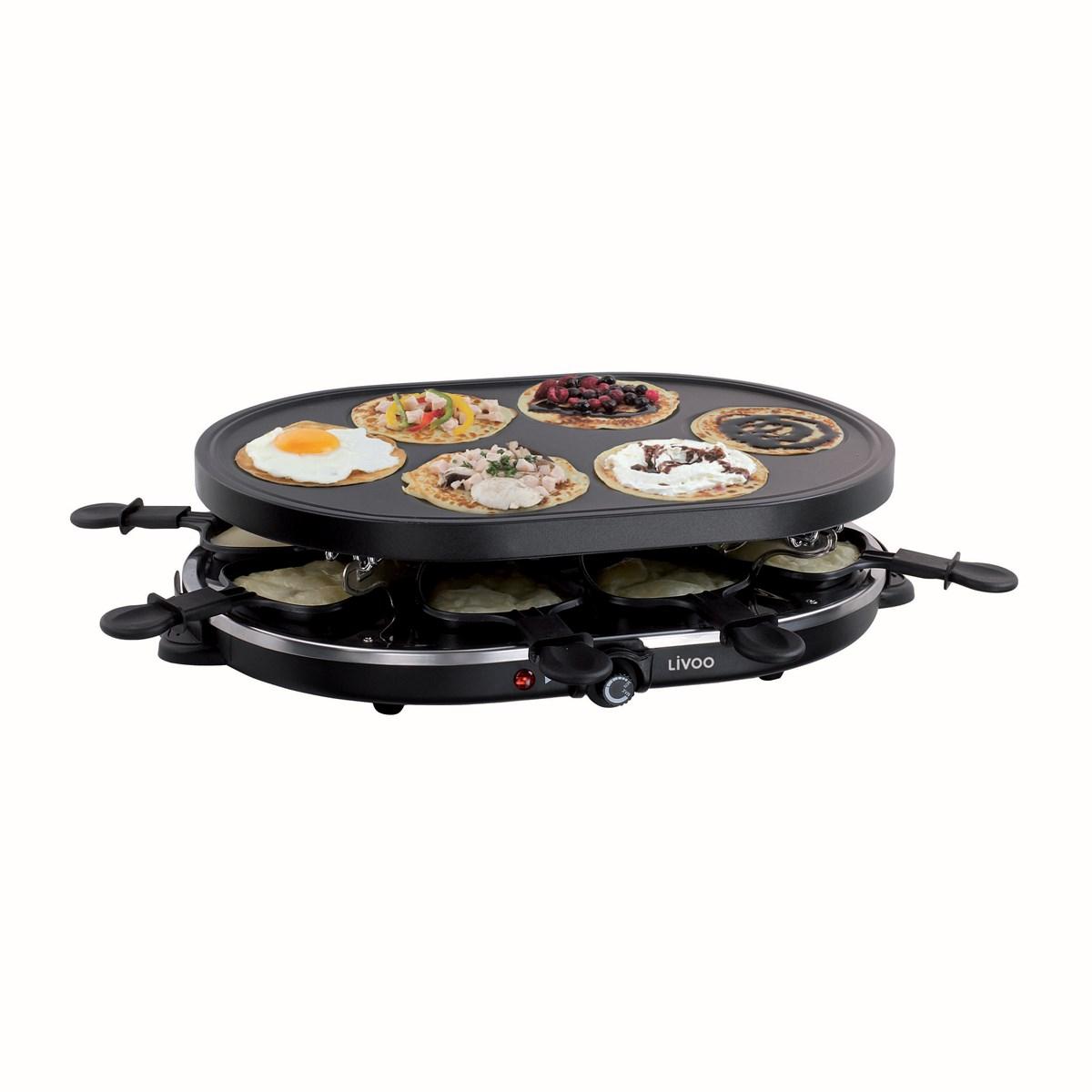 Appareil à raclette et mini-crêpes en métal noir