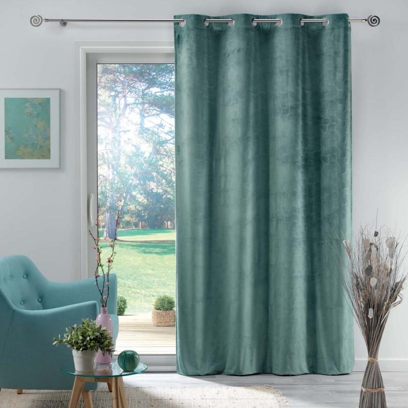 Rideau en velours motif feuillage exotique polyester menthe 280x140