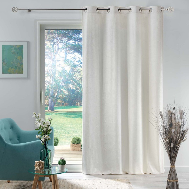 Rideau en velours motif feuillage exotique polyester naturel 280x140