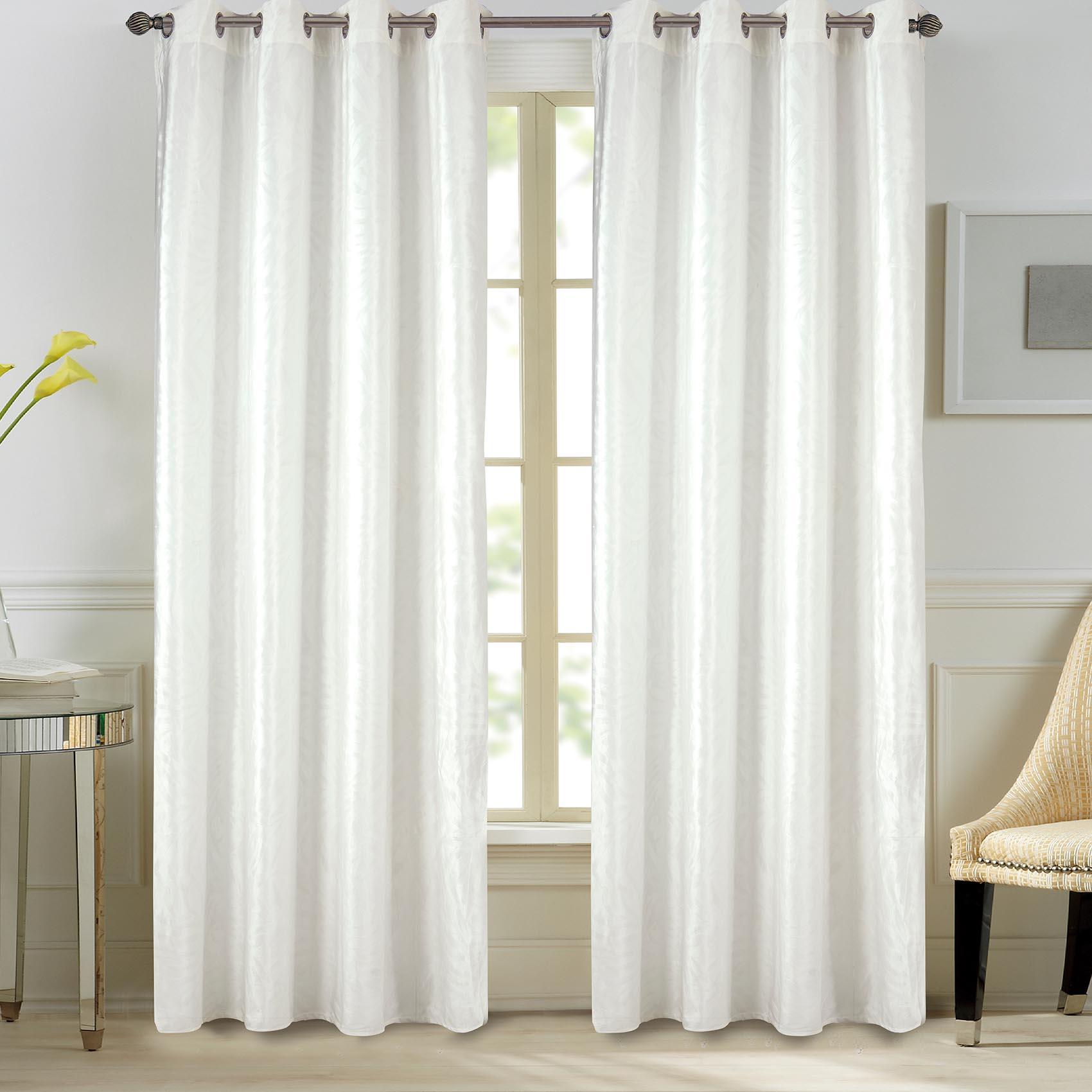 Paire de rideaux en velours et motifs frappés velours blanc 260x140