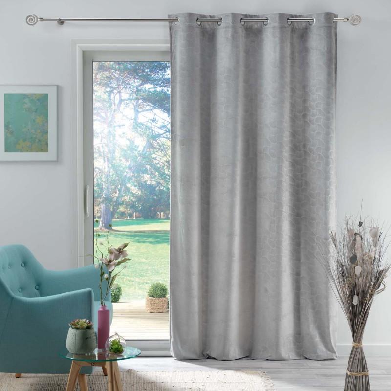 Rideau en velours motif feuillage exotique polyester gris 280x140