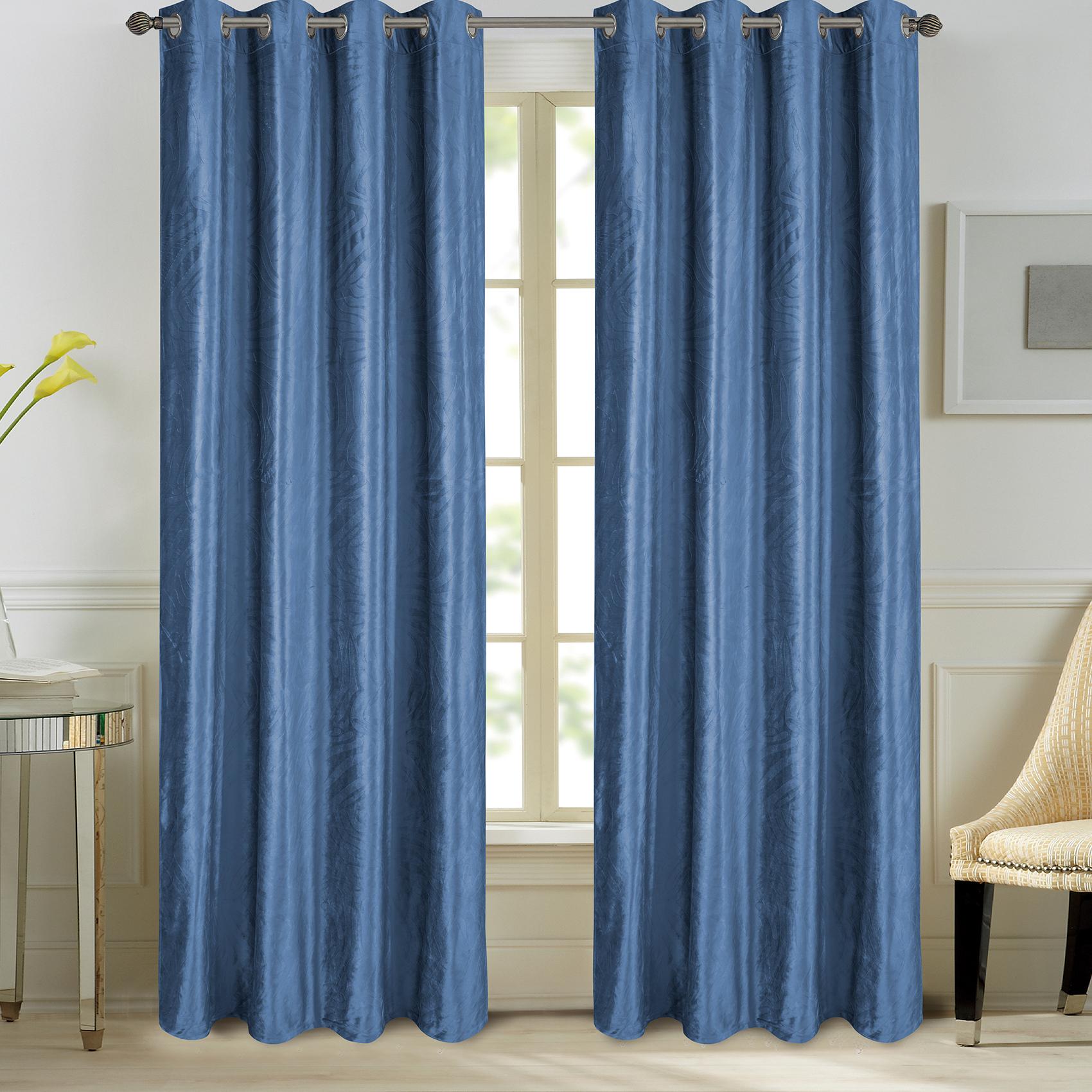 Paire de rideaux en velours et motifs frappés velours bleu 260x140