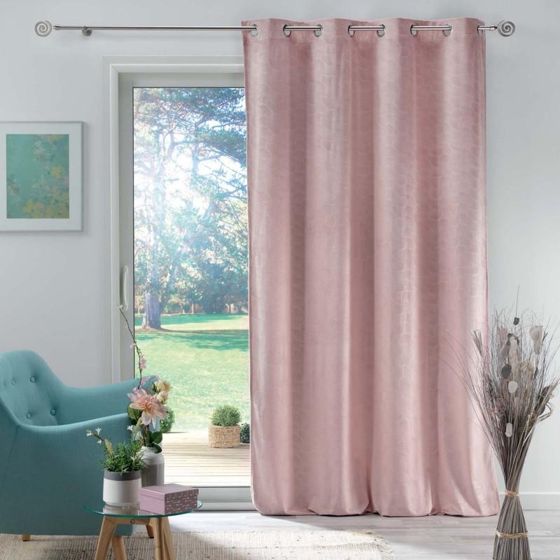 Rideau en velours motif feuillage exotique polyester rose 280x140
