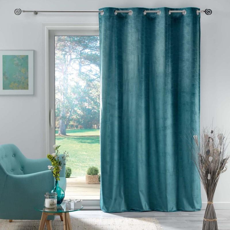 Rideau en velours motif feuillage exotique polyester bleu 280x140