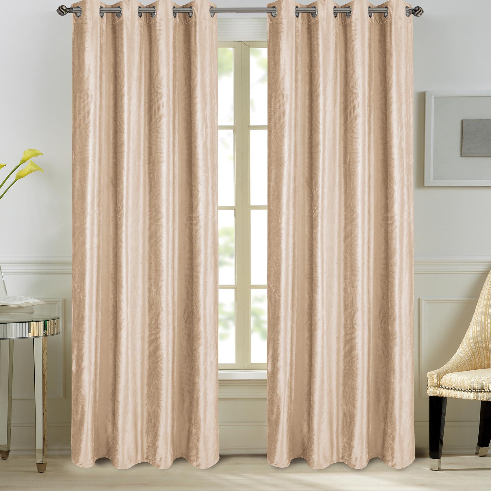 Paire de rideaux en velours et motifs frappés velours beige 260x140