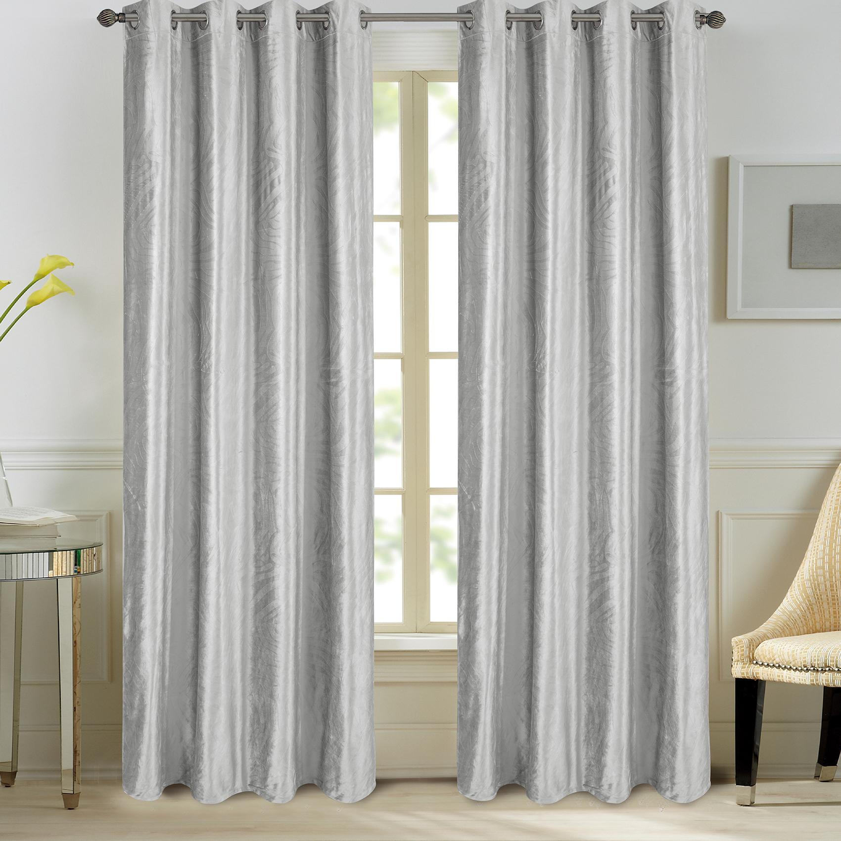 Paire de rideaux en velours et motifs frappés velours gris 260x140