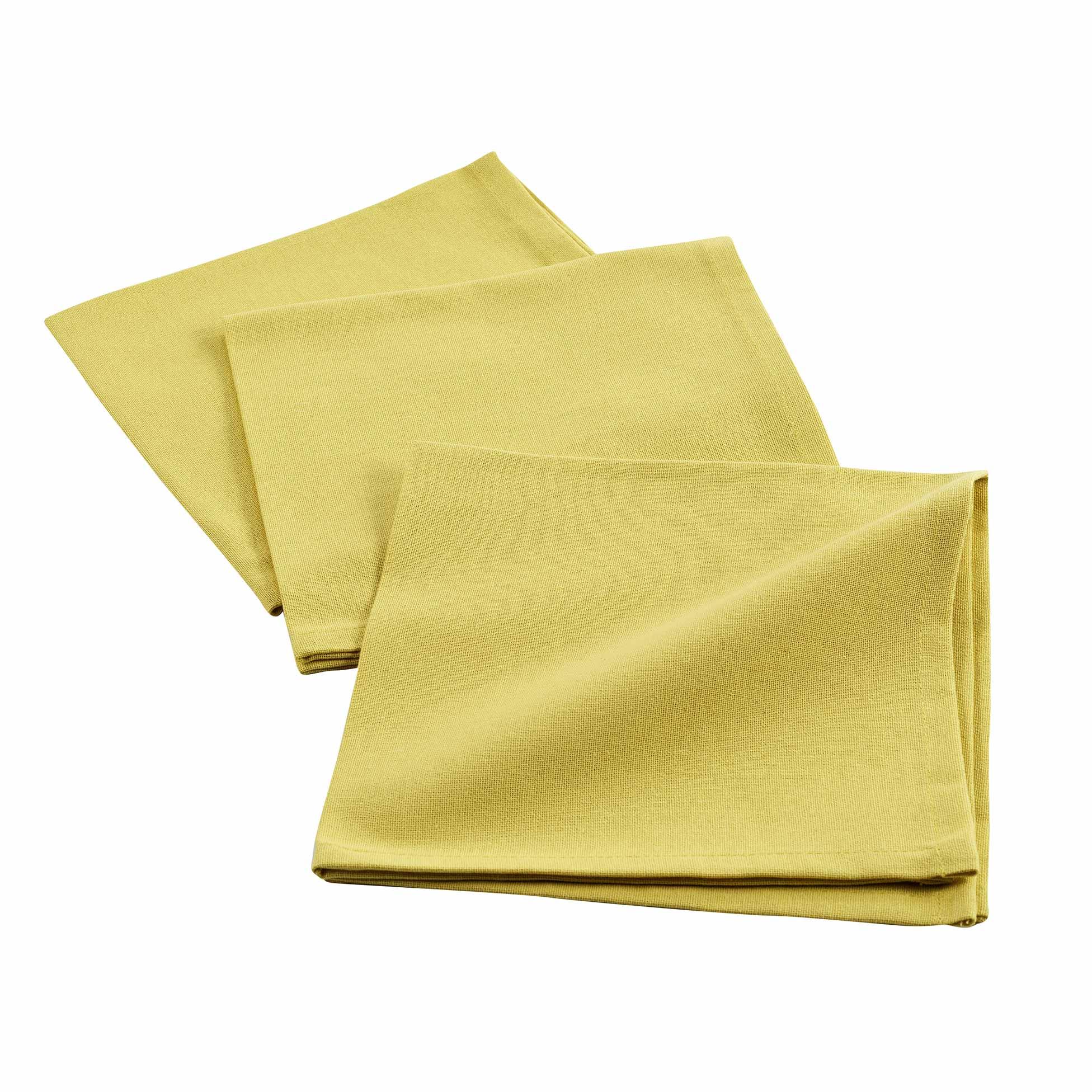 3 serviettes de tables unies coton jaune 40x40