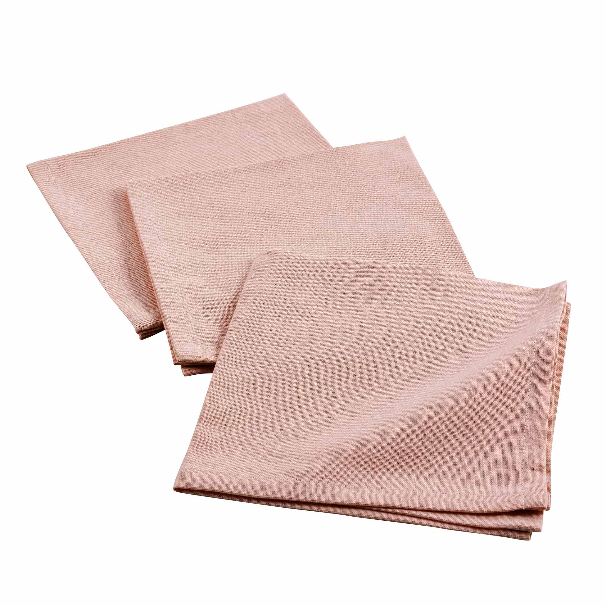 3 serviettes de tables unies coton rose 40x40