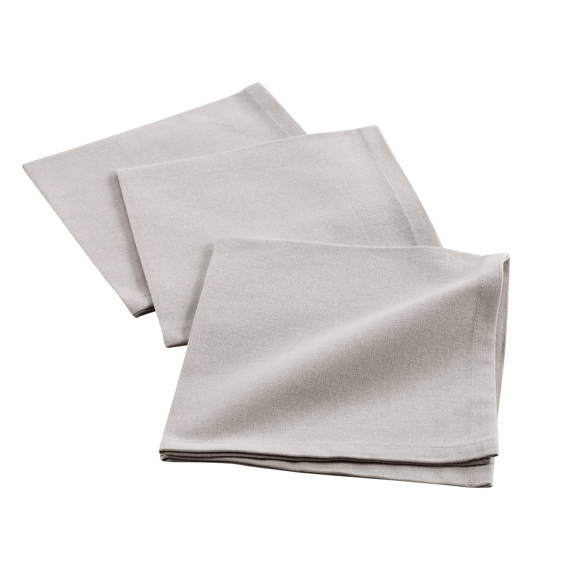 3 serviettes de tables unies coton taupe 40x40