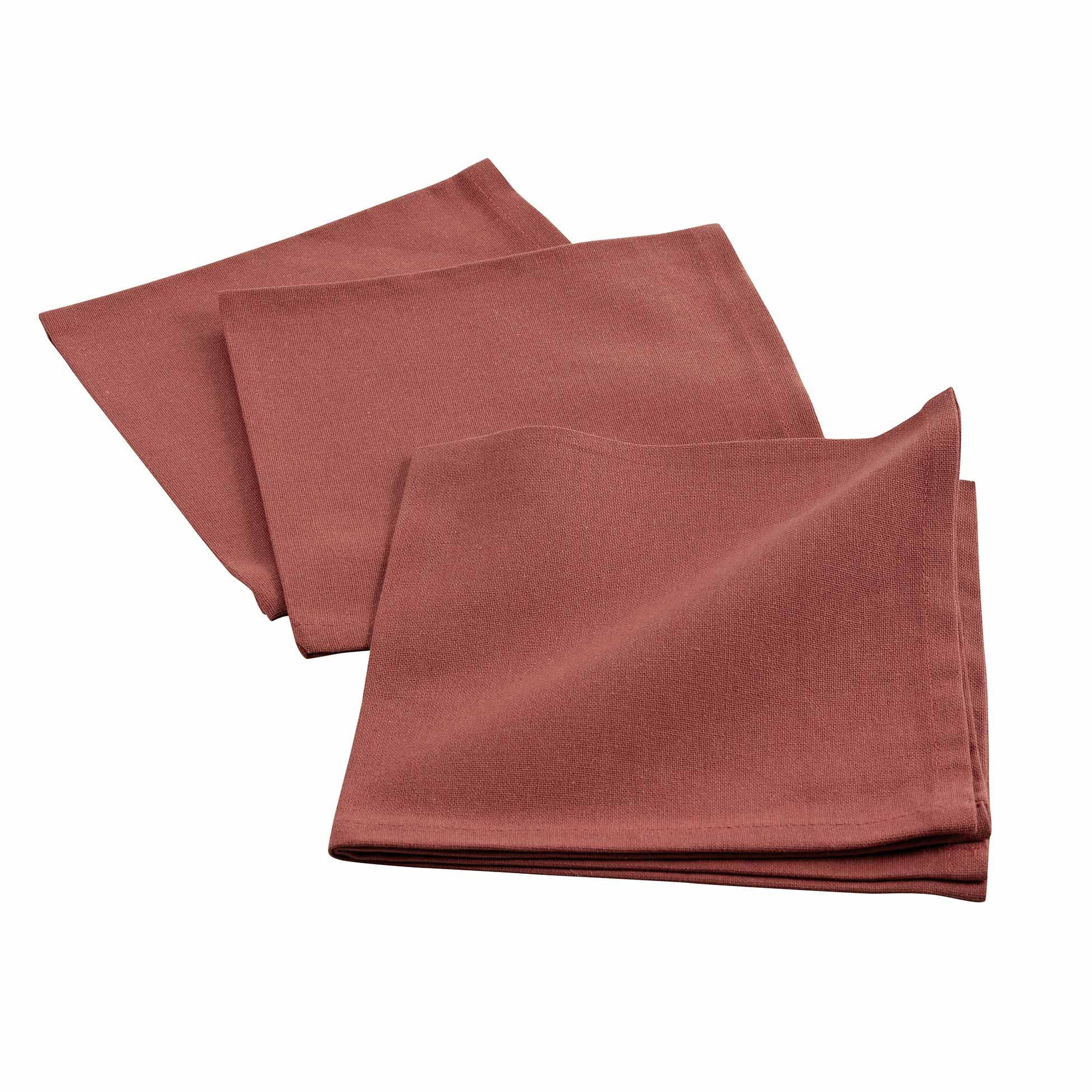 3 serviettes de tables unies coton terracotta 40x40