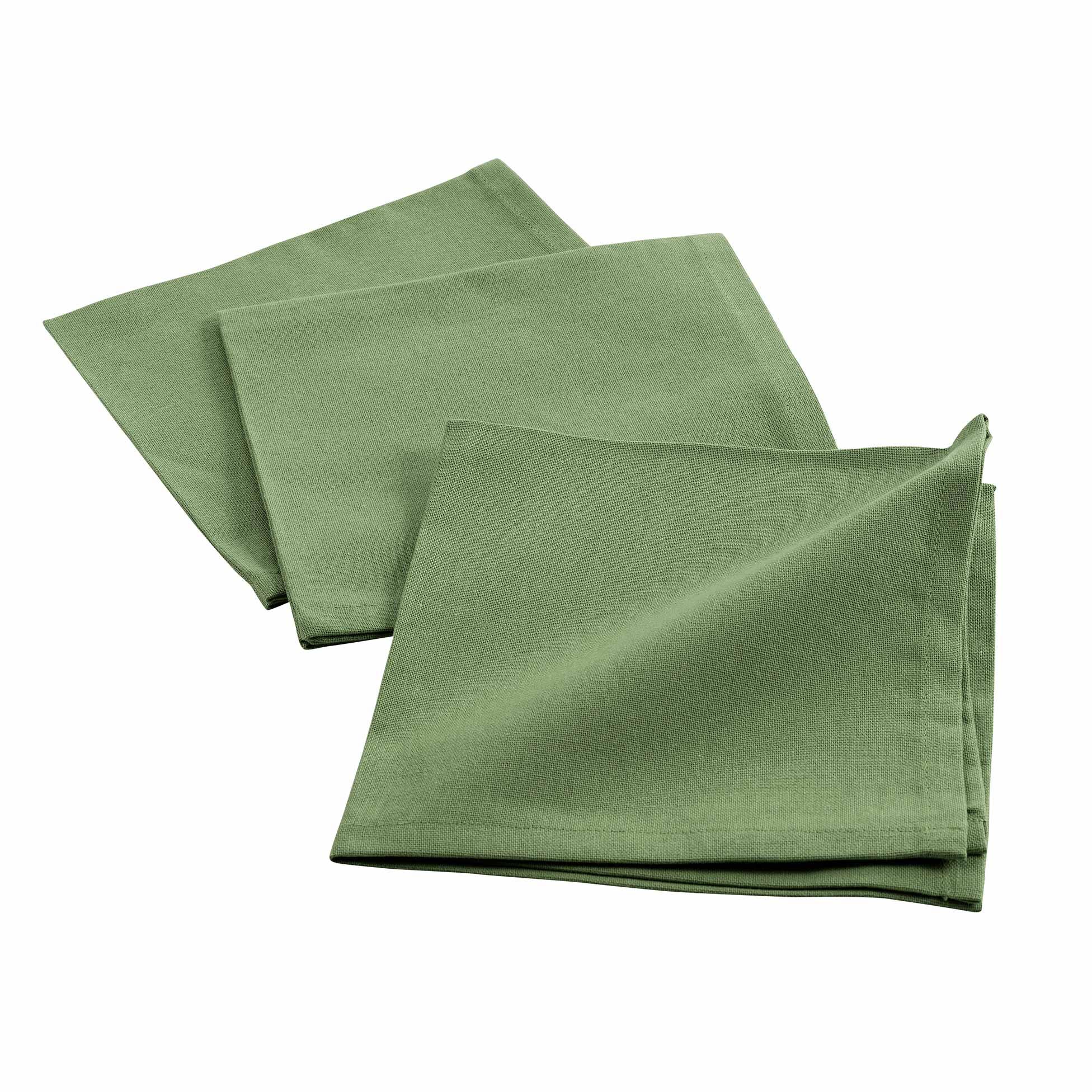 3 serviettes de tables unies coton kaki 40x40