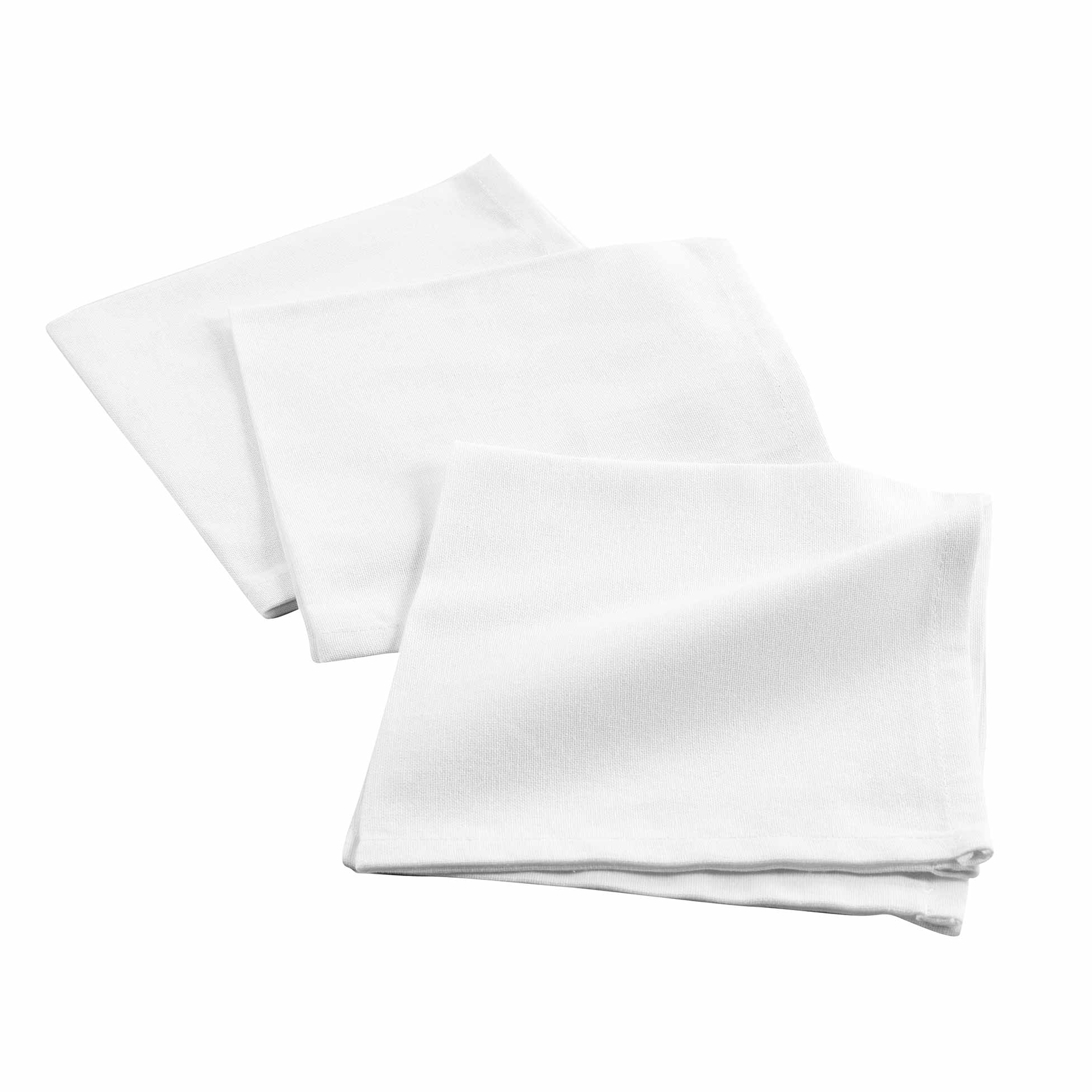 3 serviettes de tables unies coton blanc 40x40