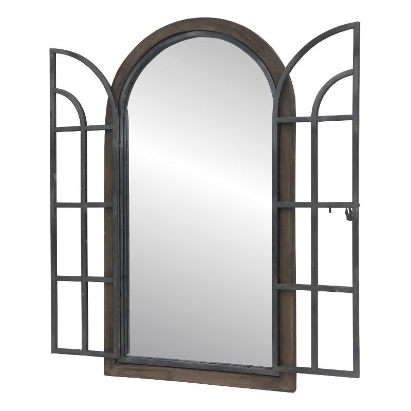 Miroir fenêtre en bois et fer marron H150