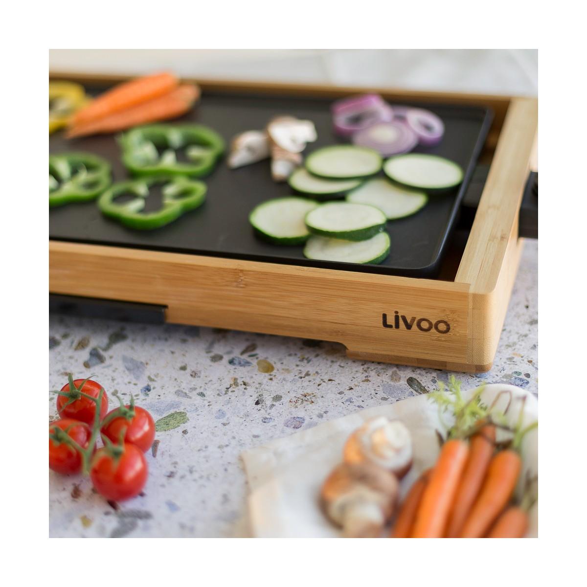 Livoo Plancha gril bambou en Aluminium Beige