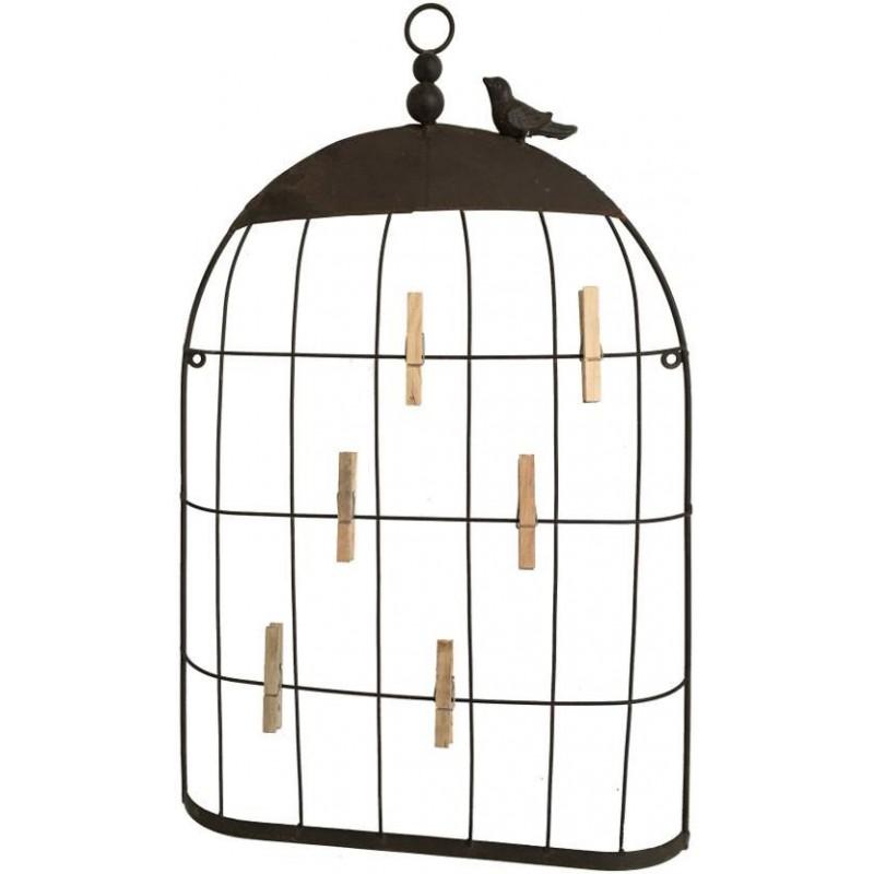 Porte-photo cage oiseau en fer 55x35