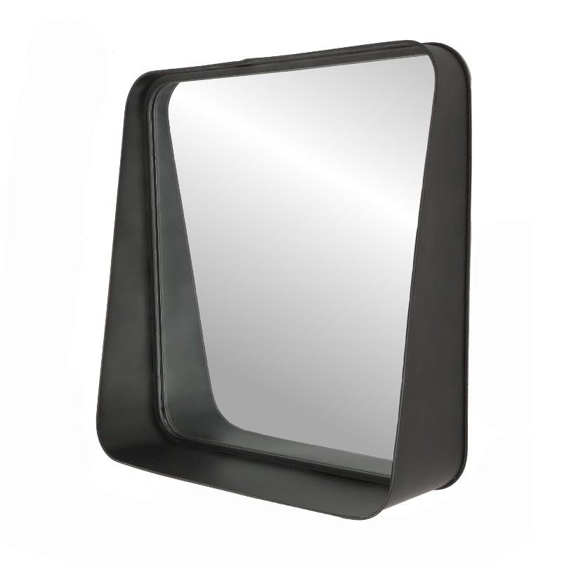Grand miroir carré avec tablette en métal 52x52