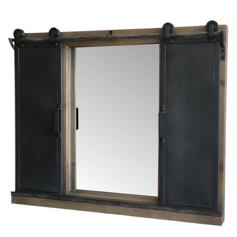 Miroir à fenêtre industriel en bois fer métal 65x80