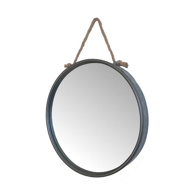 Miroir rond industriel avec boucle en métal 45x53