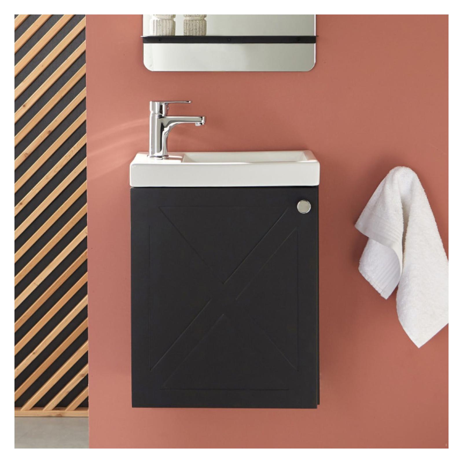 Meuble lave-mains avec robinet Noir