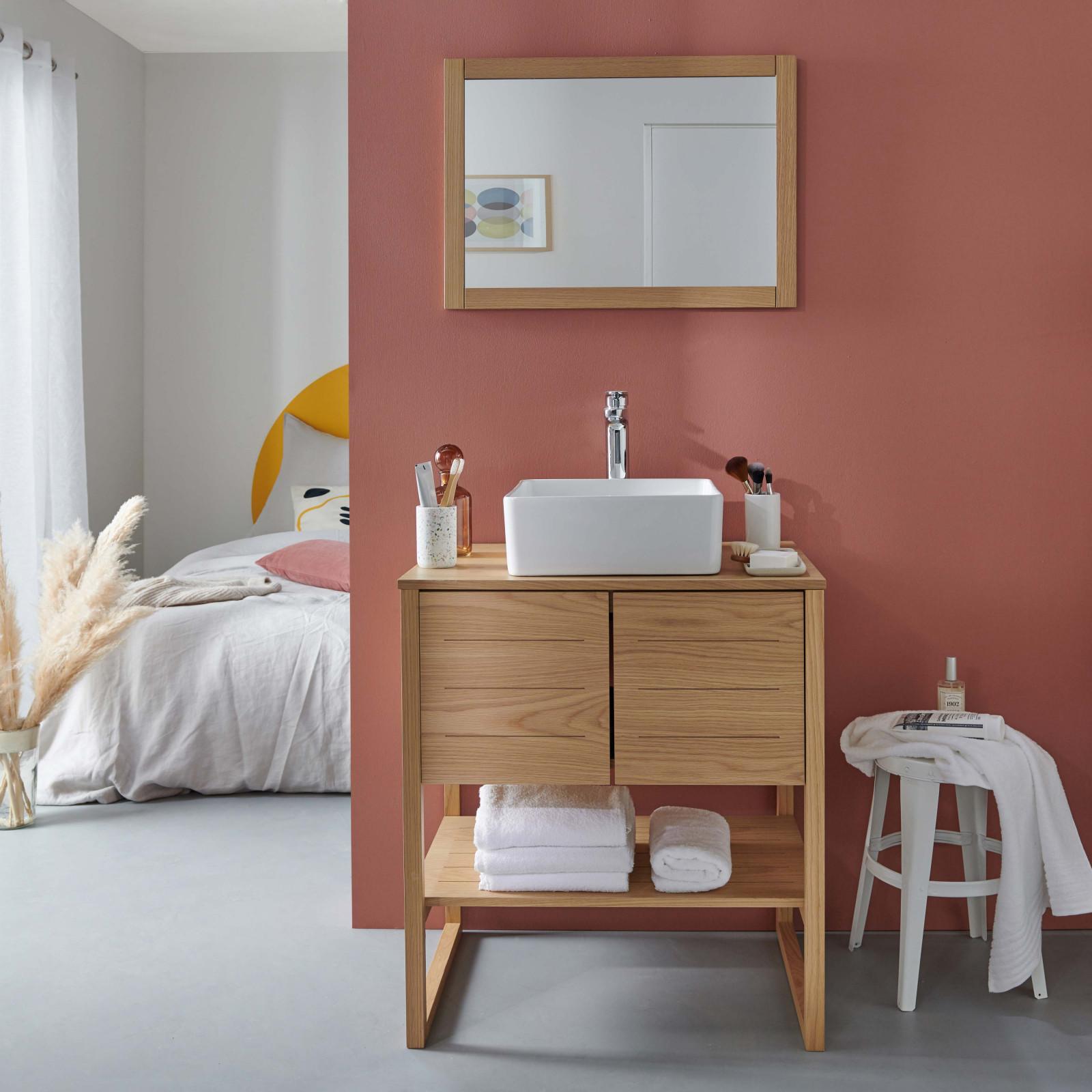 Meuble de salle de bain avec vasque et miroir effet bois clair