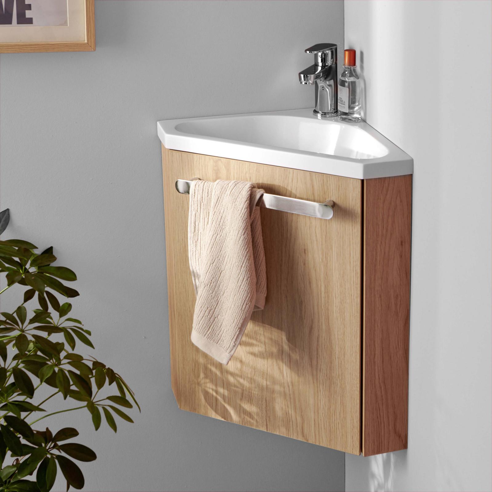 Meuble lave-mains d'angle effet bois clair