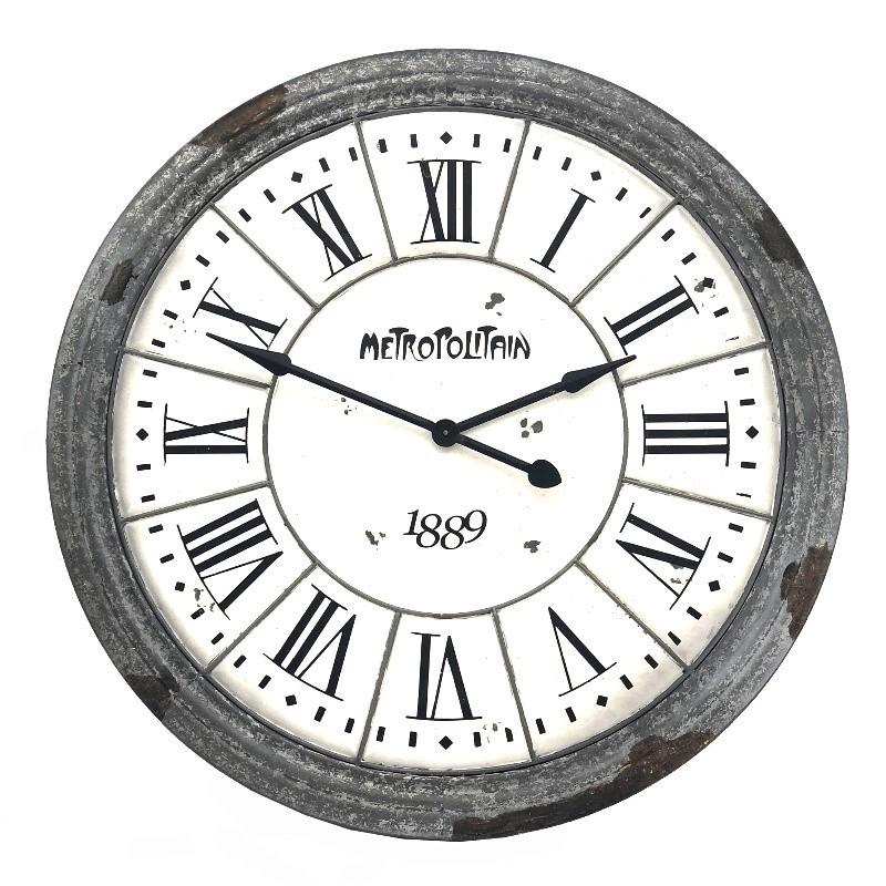 Horloge industrielle en métal et bois D100