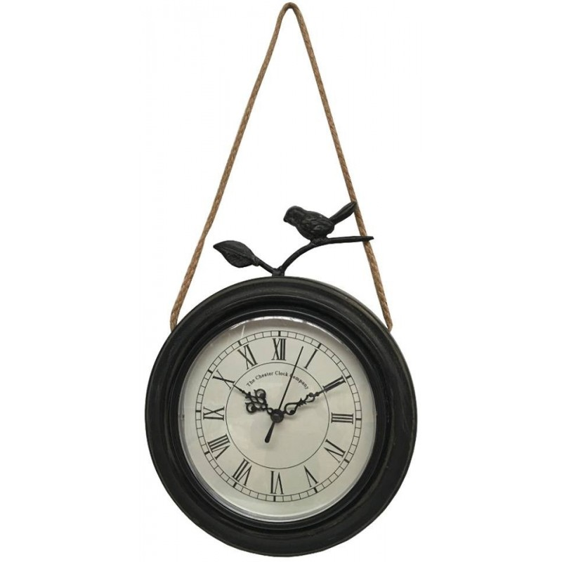 Horloge murale avec oiseau en métal