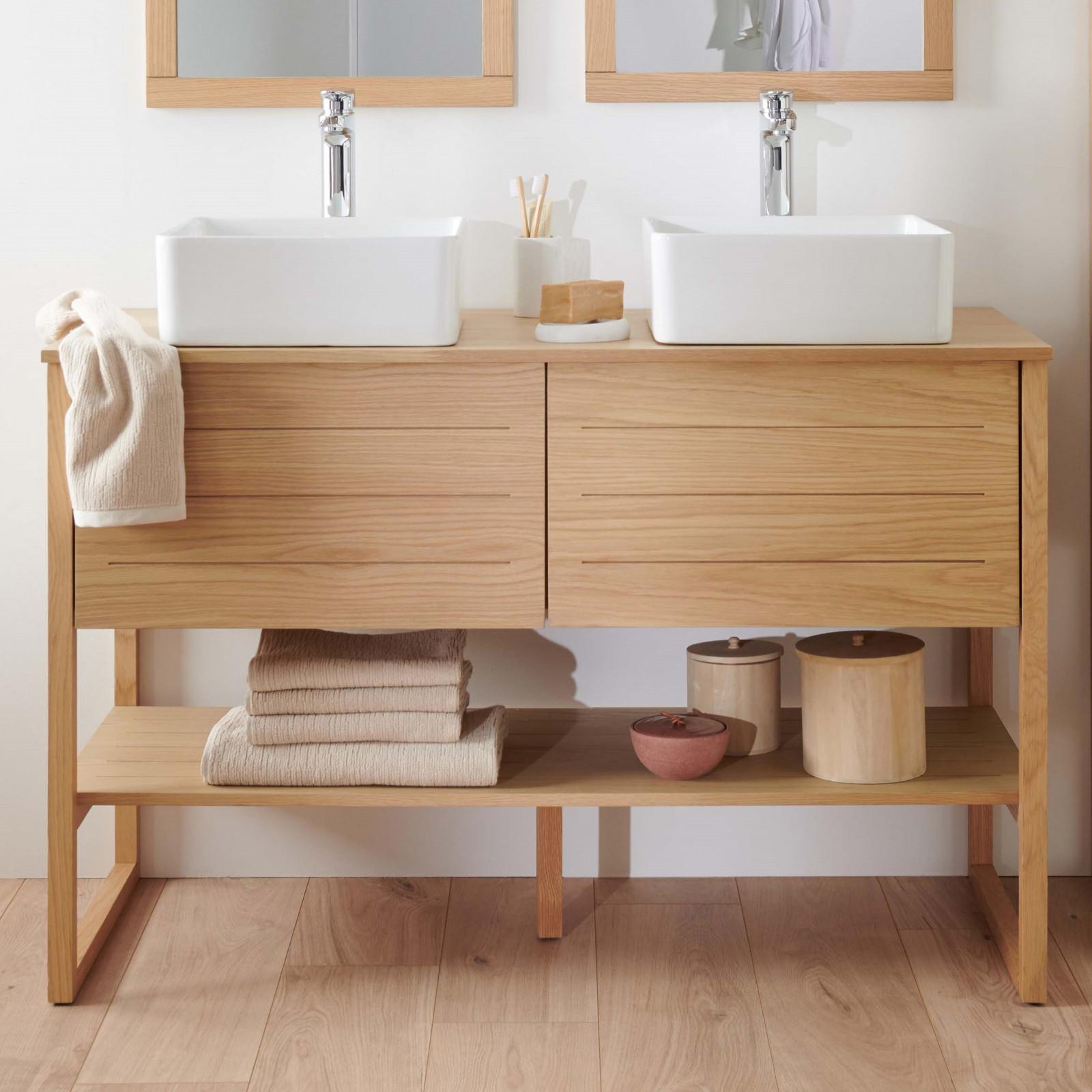 Meuble de salle de bain avec vasques effet bois clair