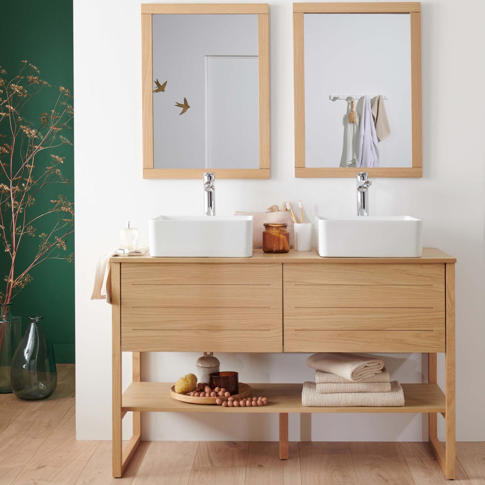 Meuble de salle de bain avec vasques et miroirs effet bois clair