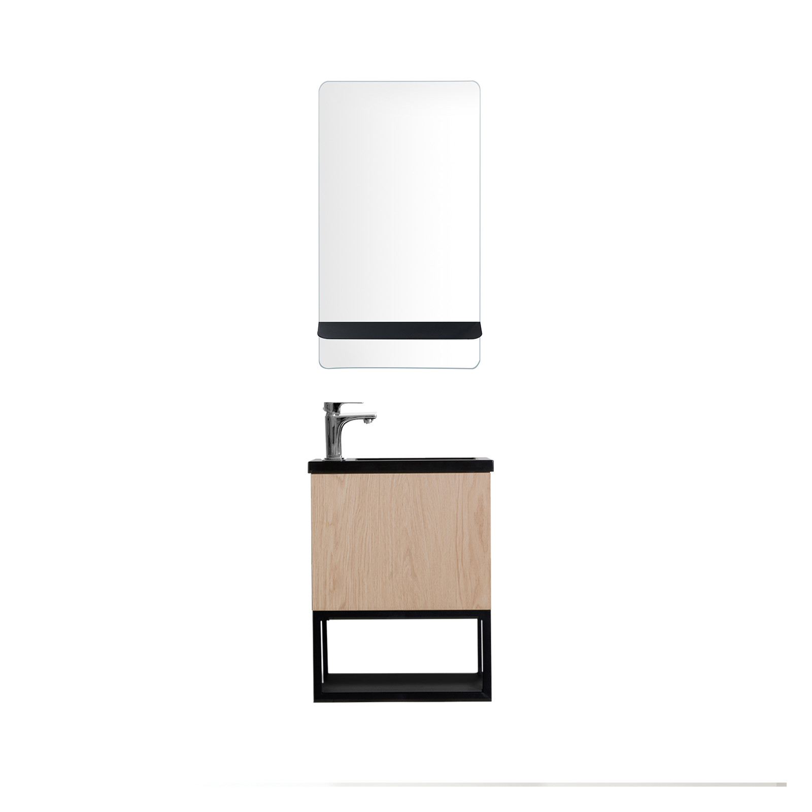 Meuble lave-mains avec miroir effet bois clair