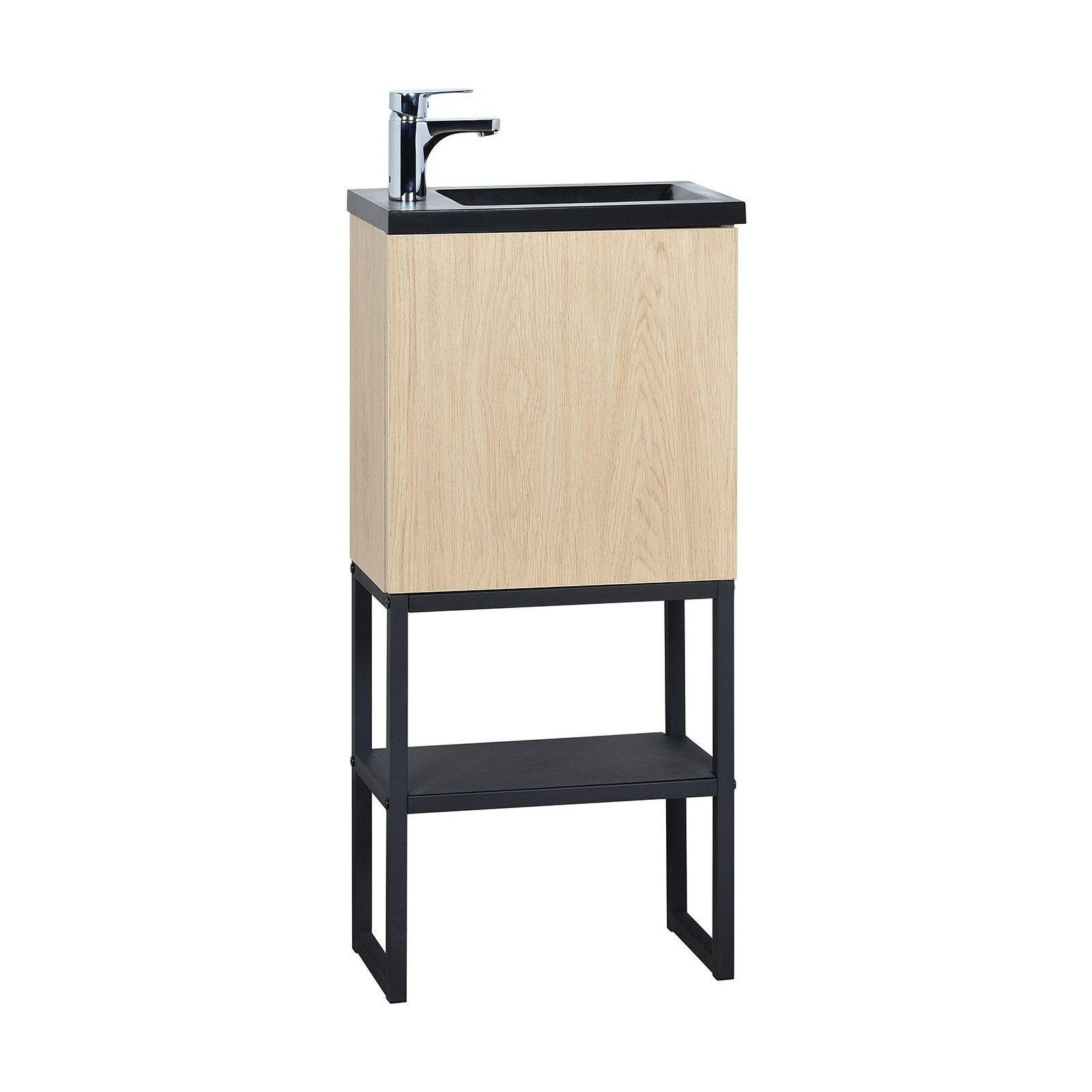 Meuble lave-mains avec miroir et robinet effet bois clair
