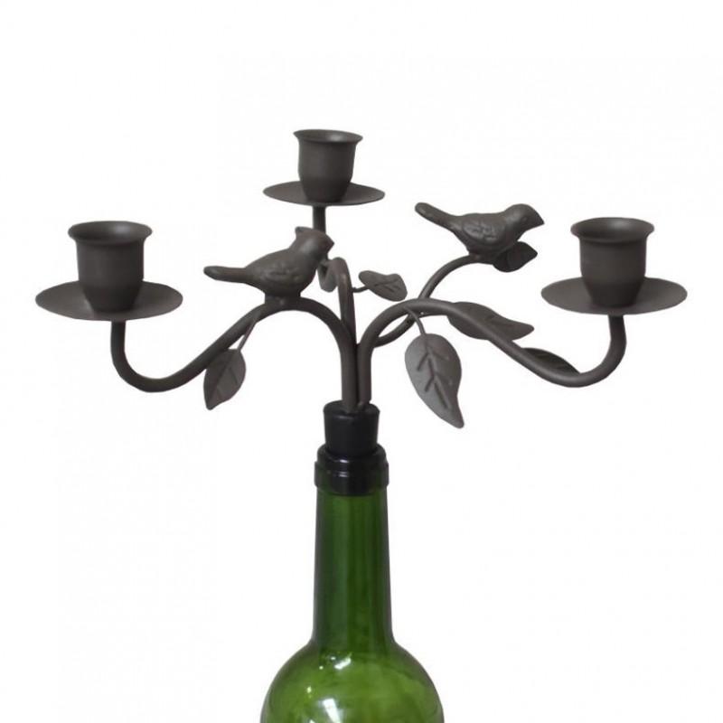 Bougeoir chandelier à bouteille oiseau gris 12x21