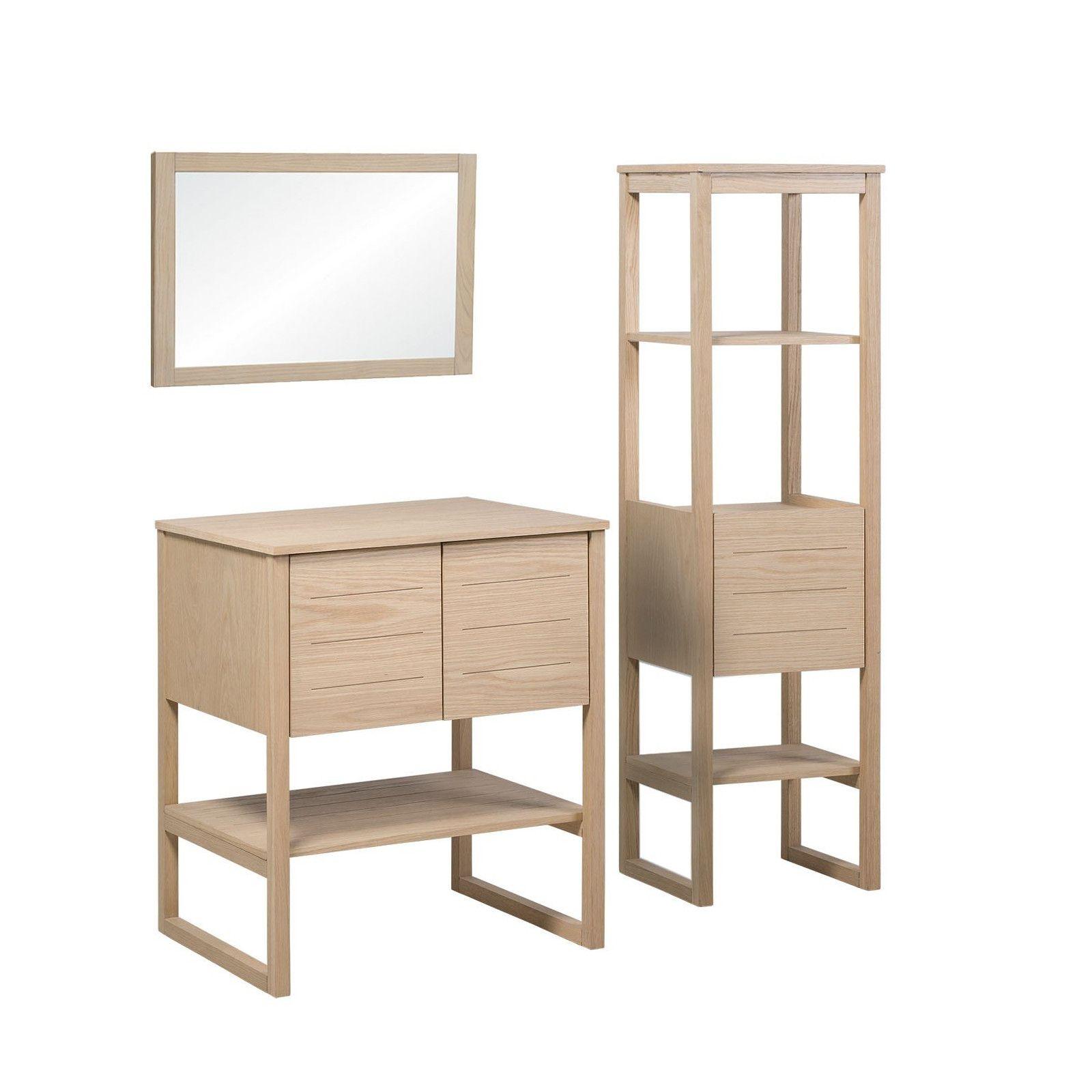 Meuble de salle de bain avec colonne et miroir effet bois clair