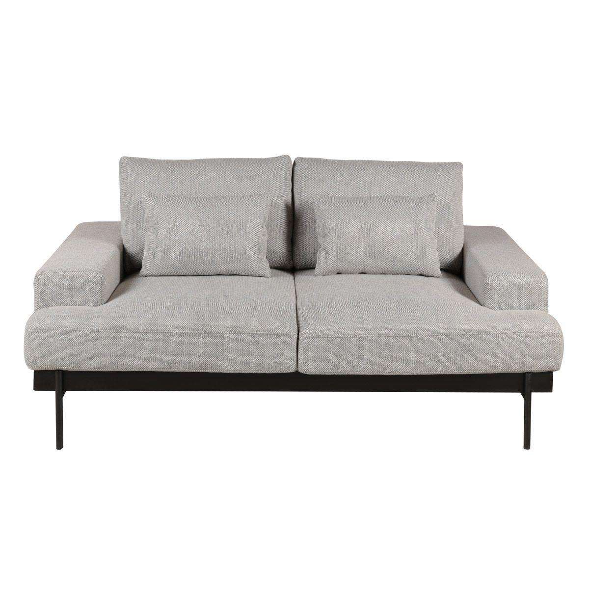 Canapé 2 places tissu gris et pieds métal noir mat