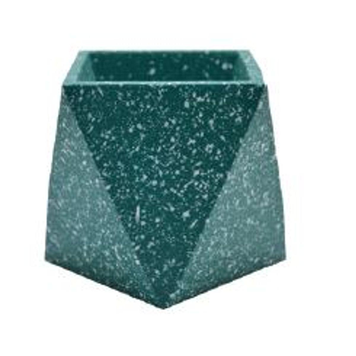 Cachepot hexagonal en terrazzo vert clair H9cm