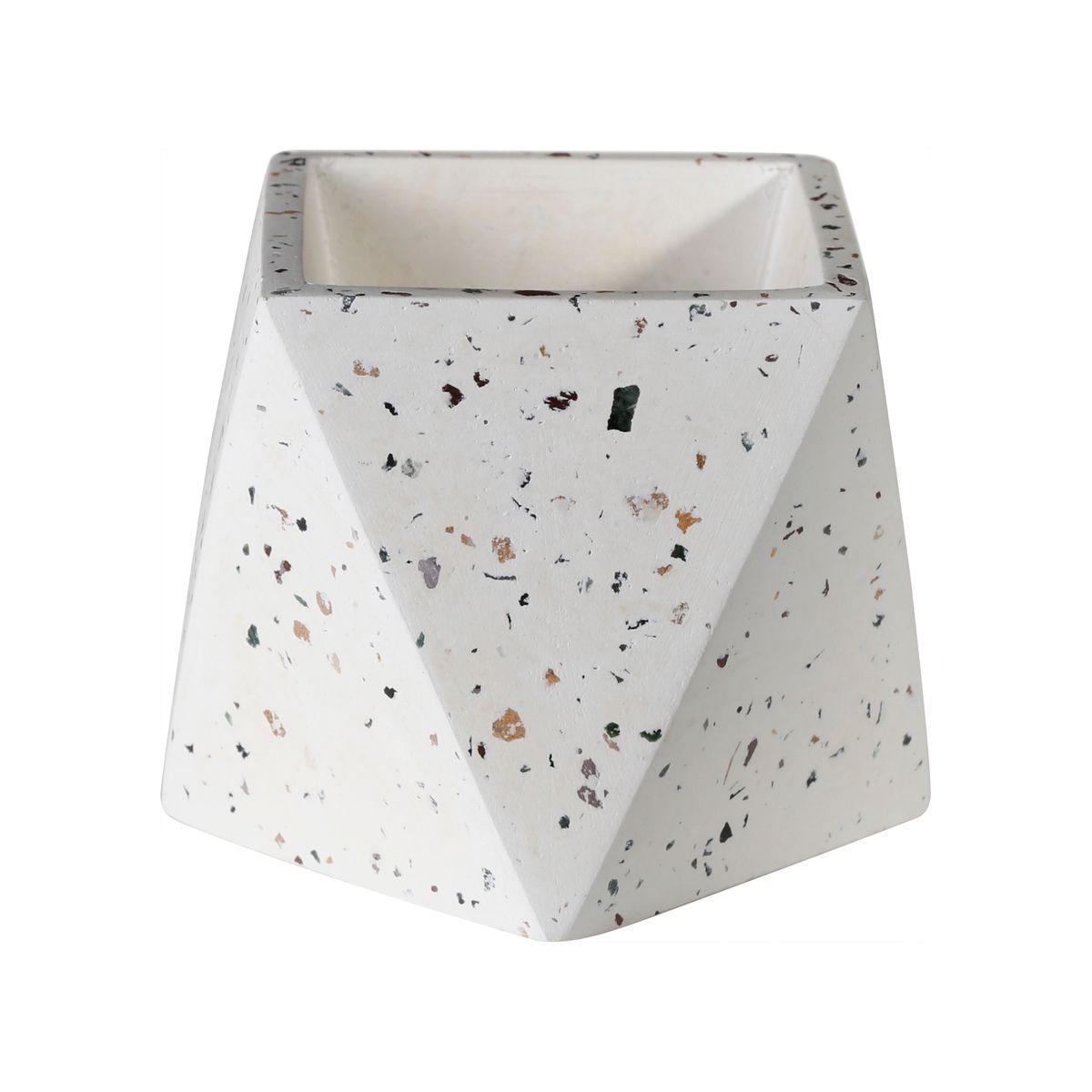 Cache-pot hexagonal en terrazzo blanc H9cm (photo)