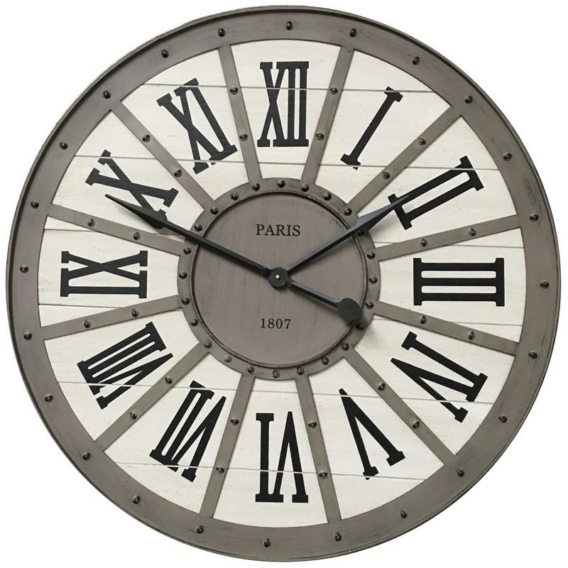 Horloge industrielle en métal et bois D93