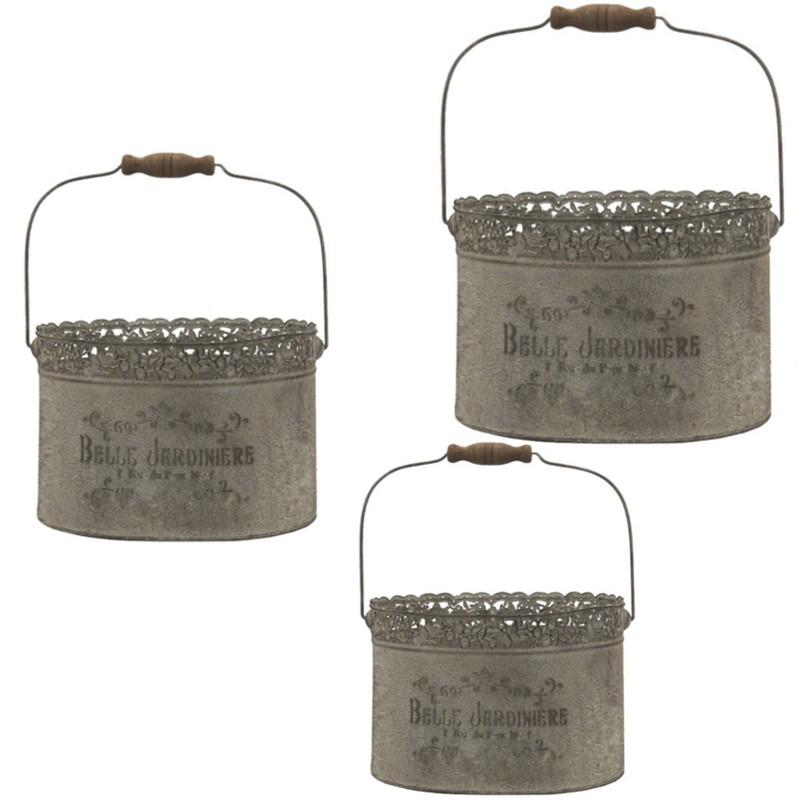 3 beaux sceaux paniers en métal poignet anse bois (photo)