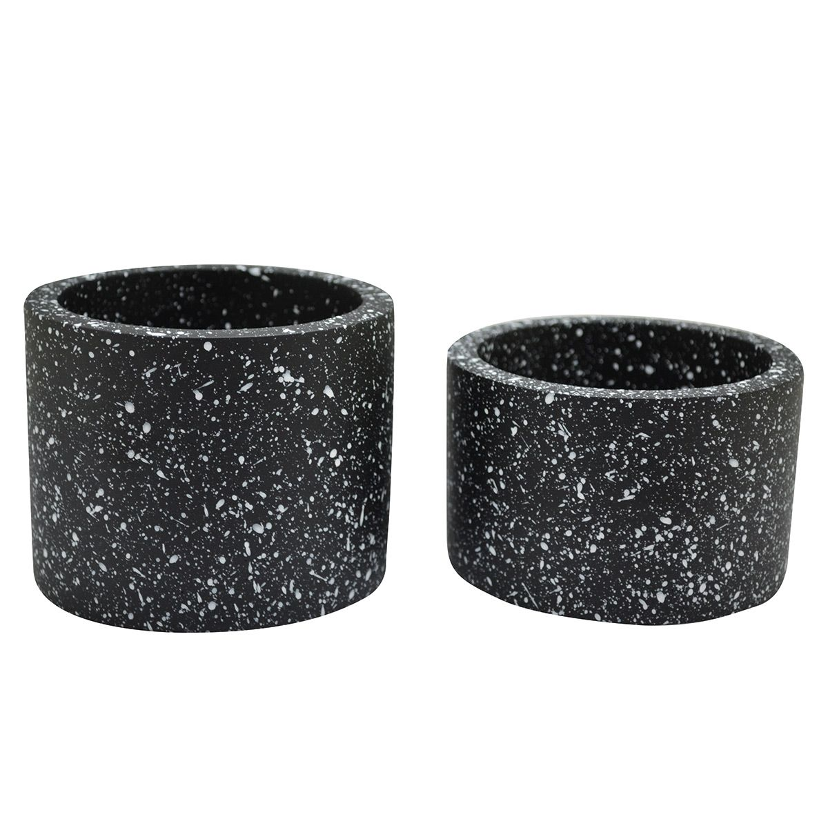 Cachepot en béton effet terrazzo noir (x2)