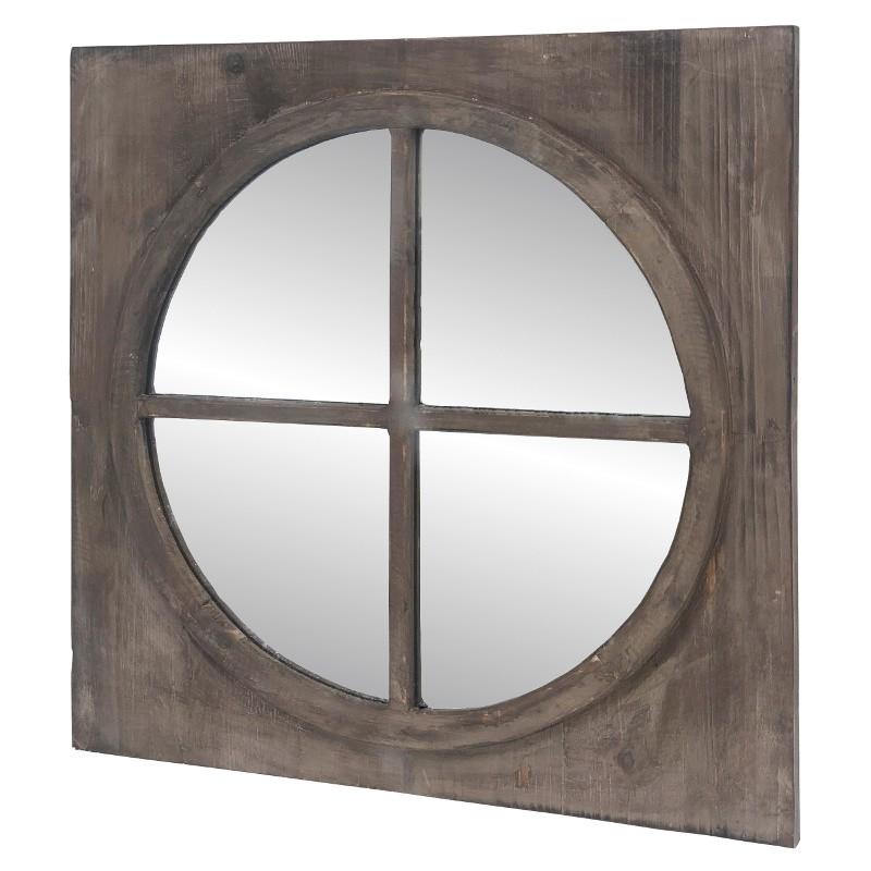 Miroir fenêtre œil de bœuf carré en bois 80x80