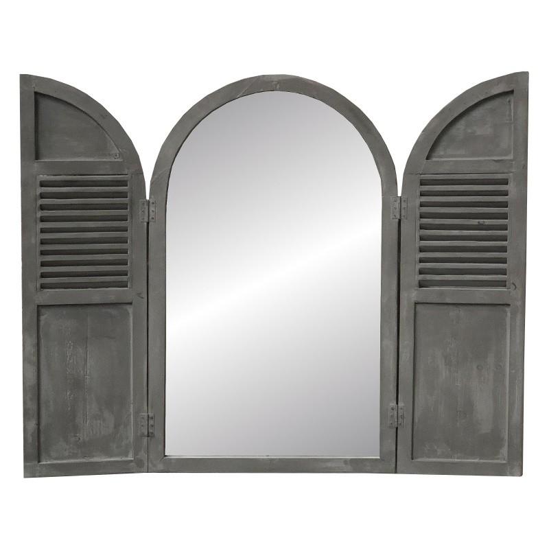 Miroir fenêtre volet persienne en bois de pin gris 89x108