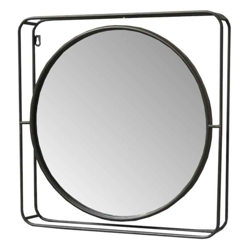 Miroir industriel en métal marron 51x51